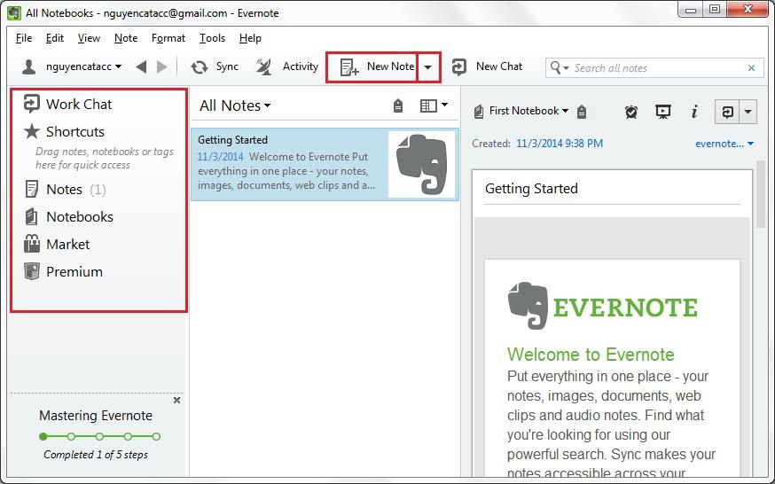 phần mềm nhắc việc trên desktop Evernote