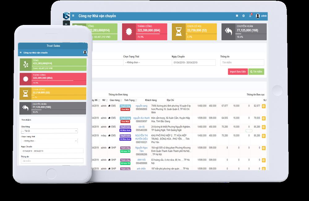 Phần mềm quản lý dữ liệukhách hàng TrustSales